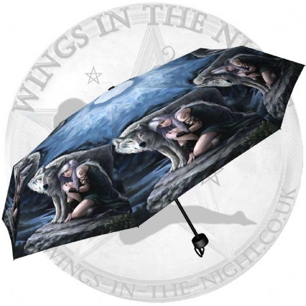 NEMESIS NOW Protector Wolf Umbrella by Anne Stokes
